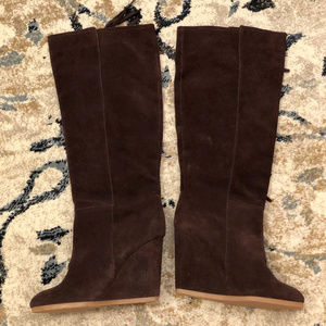 Coach Shoes - Coach Dollie Tall Knee Fringe Wedge Suede Boots